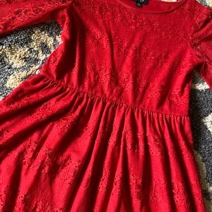 by & by Dresses - Red Lace Dress